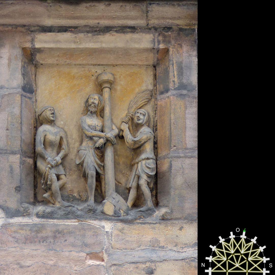 Passionsreliefs Jesus an der Geißelsäule - Wappen der Behaim