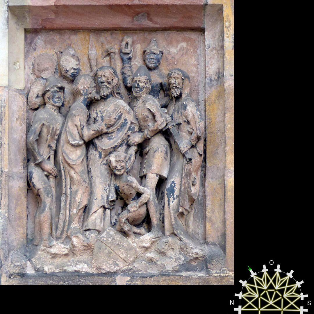 Passionsreliefs Judaskuss und Gefangennahme von Jesus - Wappen der Geuschmid