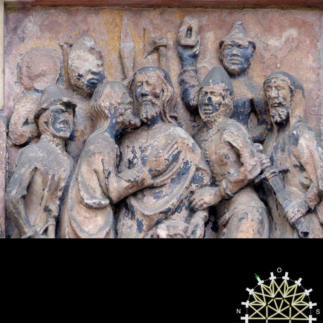 Passionsreliefs Judaskuss und Gefangennahme Jesu, Detail