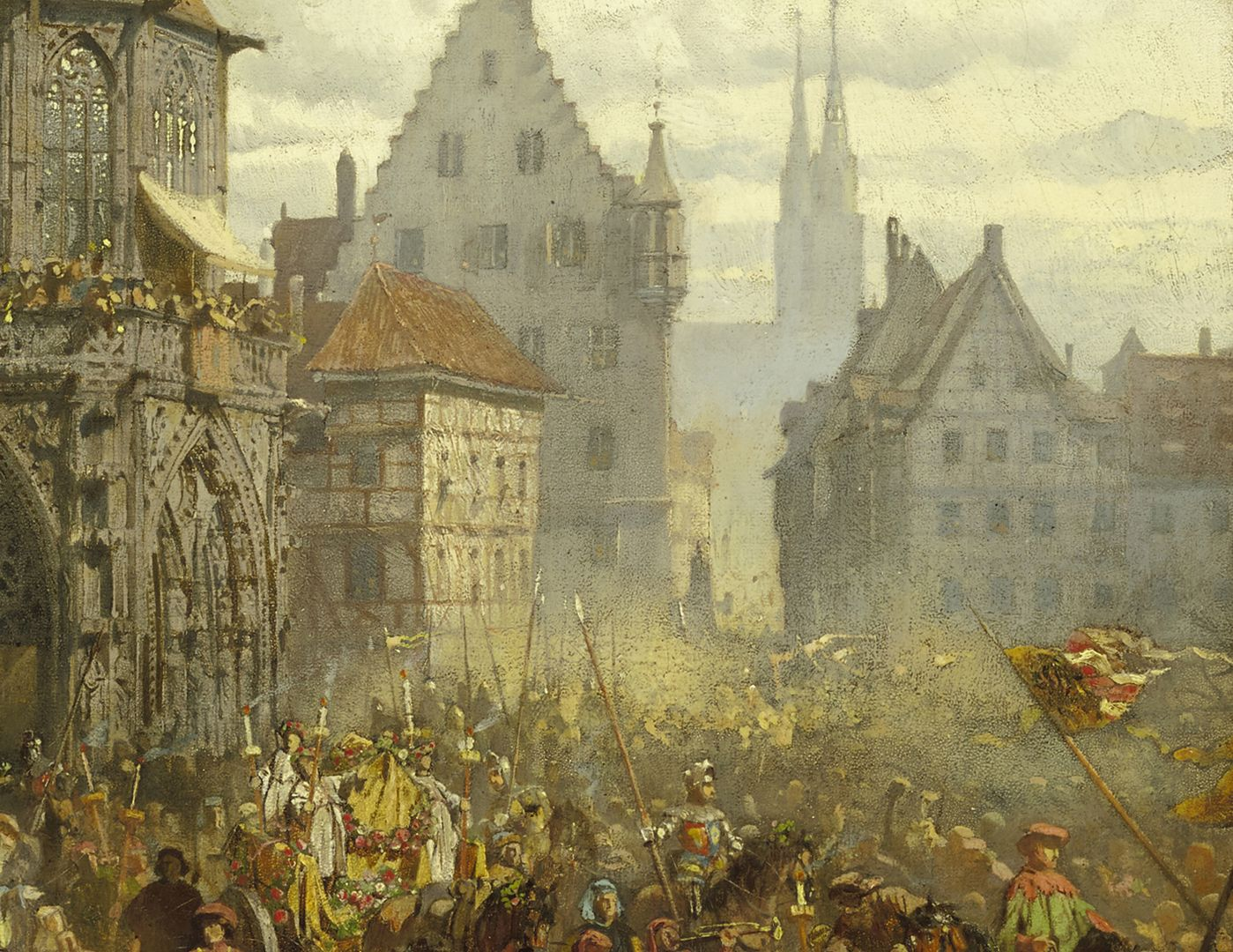 Die Einbringung der Reichskleinodien 1424 (Entwurf) Bildmitte, Ausschnitt