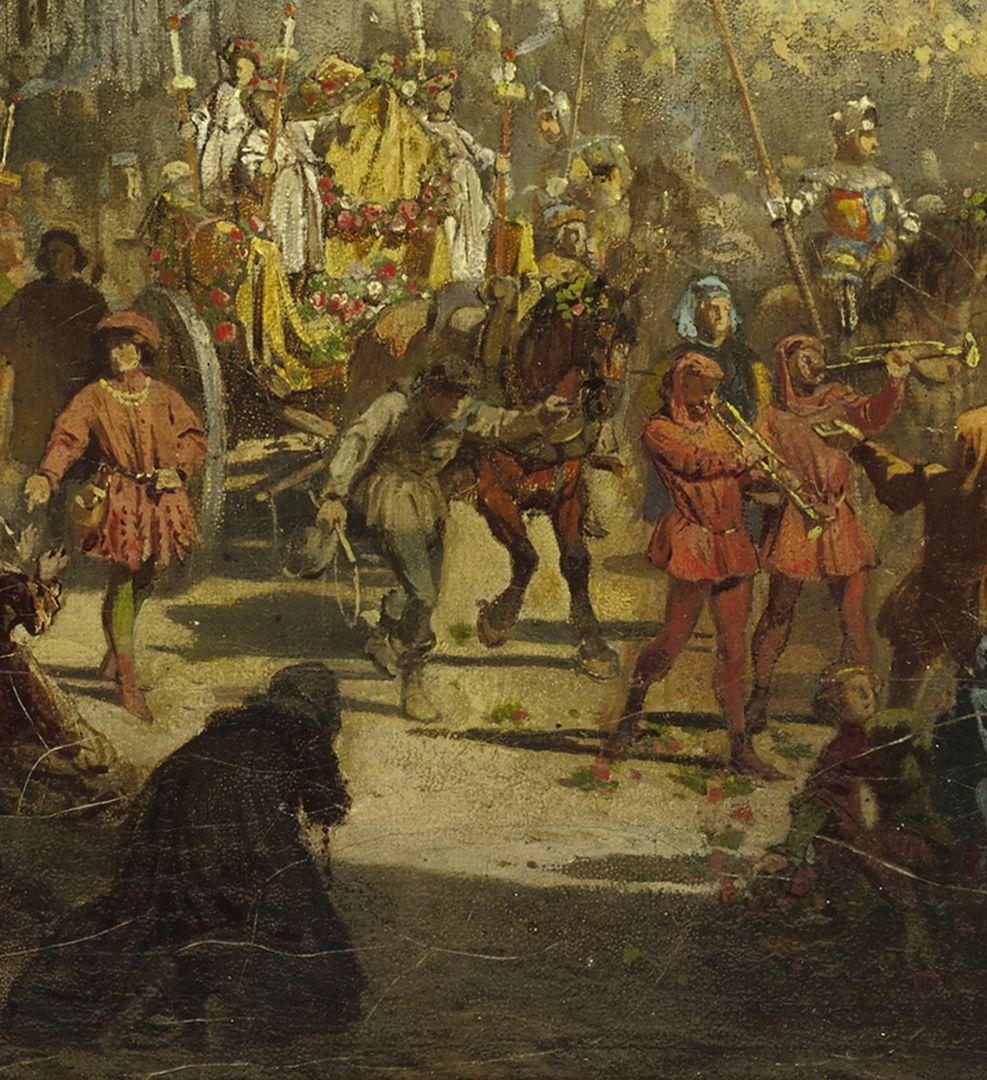 Die Einbringung der Reichskleinodien 1424 (Entwurf) mittlere Partie vom unteren Bildrand