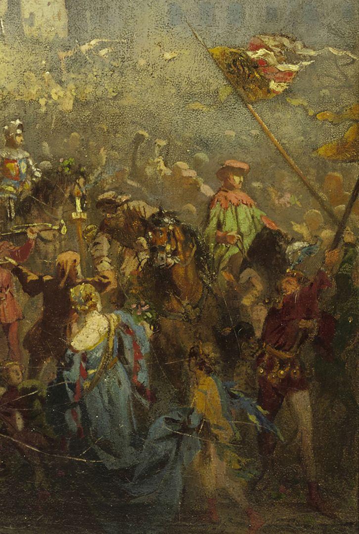 Die Einbringung der Reichskleinodien 1424 (Entwurf) Bildecke unten rechts