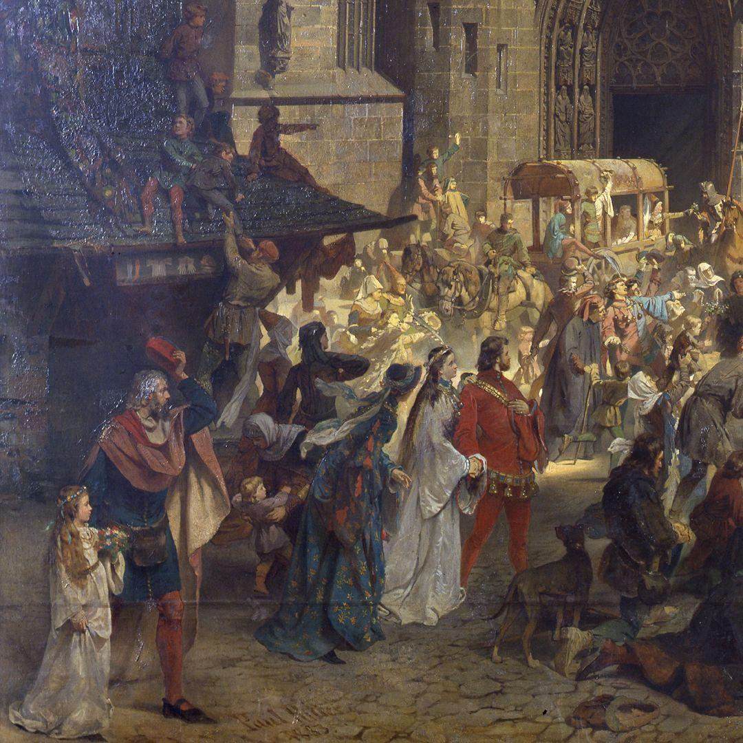 Die Einbringung der Reichskleinodien in Nürnberg am 22. März 1424 linkes unteres Bildfeld: Paul Ritter selbst verfolgt das Geschehen, zu Füßen seine Signatur