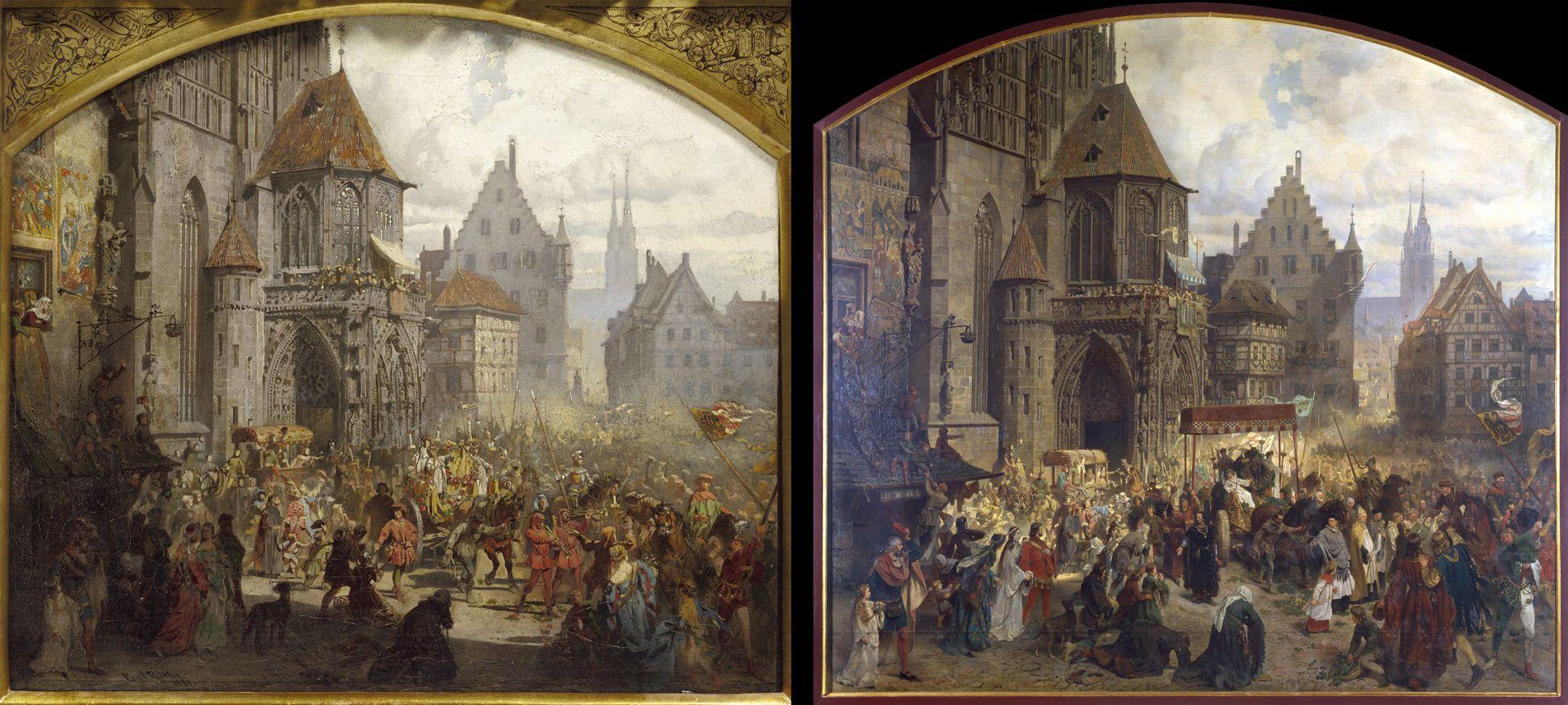 Die Einbringung der Reichskleinodien in Nürnberg am 22. März 1424 links der Präsentationsentwurf von 1881 / rechts das ausgeführte Gemälde