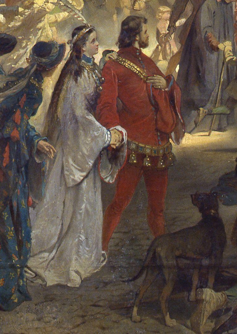 Die Einbringung der Reichskleinodien in Nürnberg am 22. März 1424 Nach dem Erklärungsblatt sind hier Wilhelm Freiherr von Faber (1851-1893) und dessen Frau dargestellt