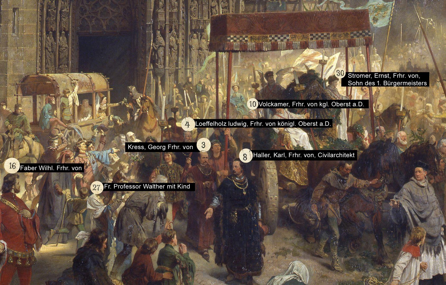 Die Einbringung der Reichskleinodien in Nürnberg am 22. März 1424 Auswahl von dargestellten Personen im Gemälde