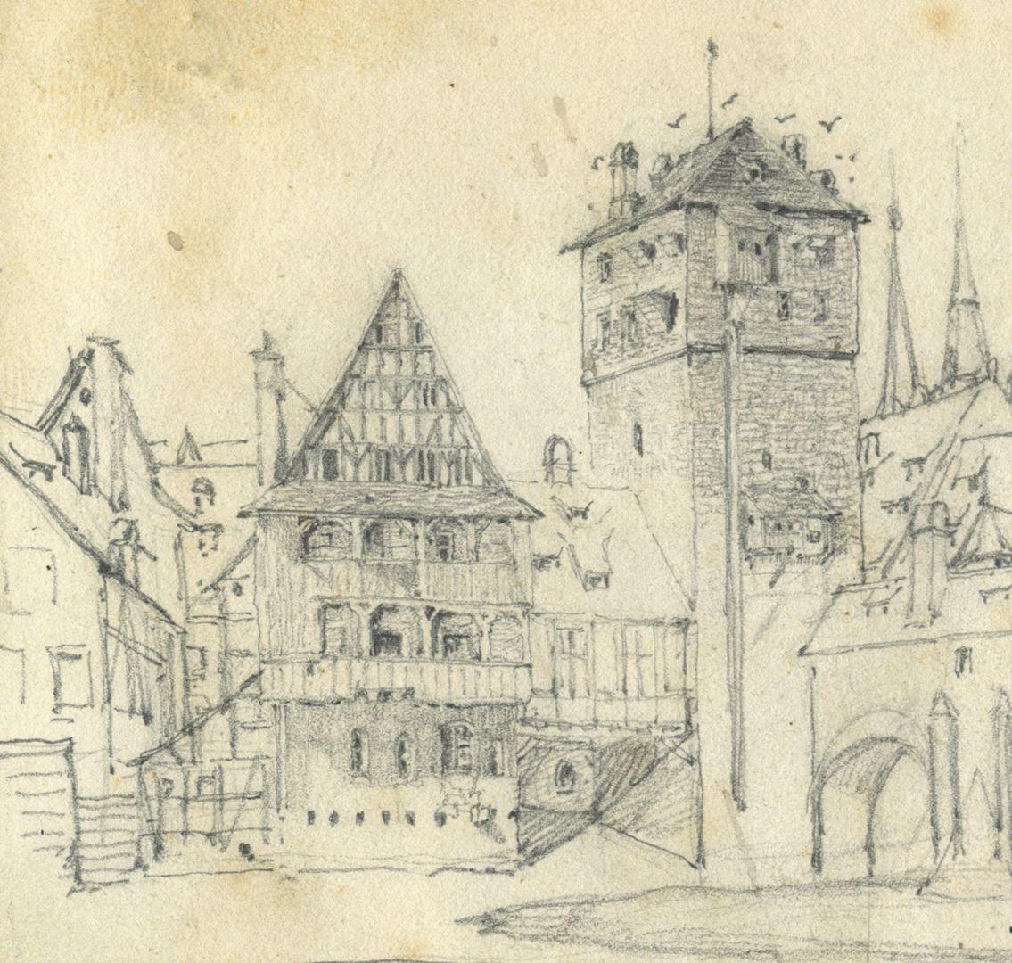 Skizzenbuch von Paul Ritter Blick auf Weinstadel, Henkersteg, Detail
