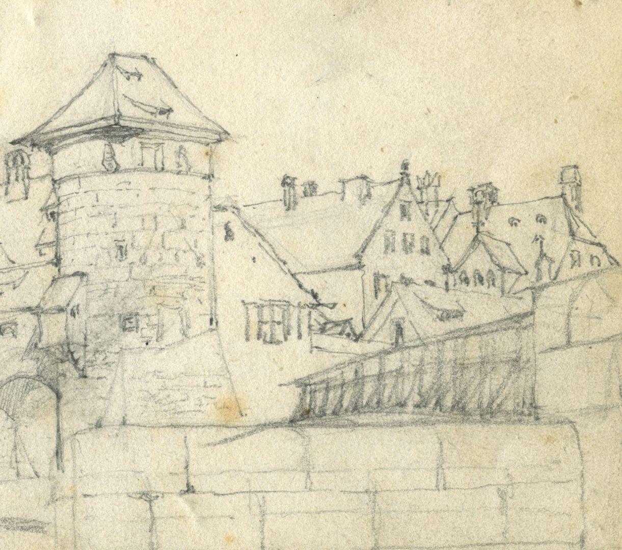 Skizzenbuch von Paul Ritter Blick auf Weinstadel, Henkersteg, rechts Dach vom ehemaligen Bayerischen Hof