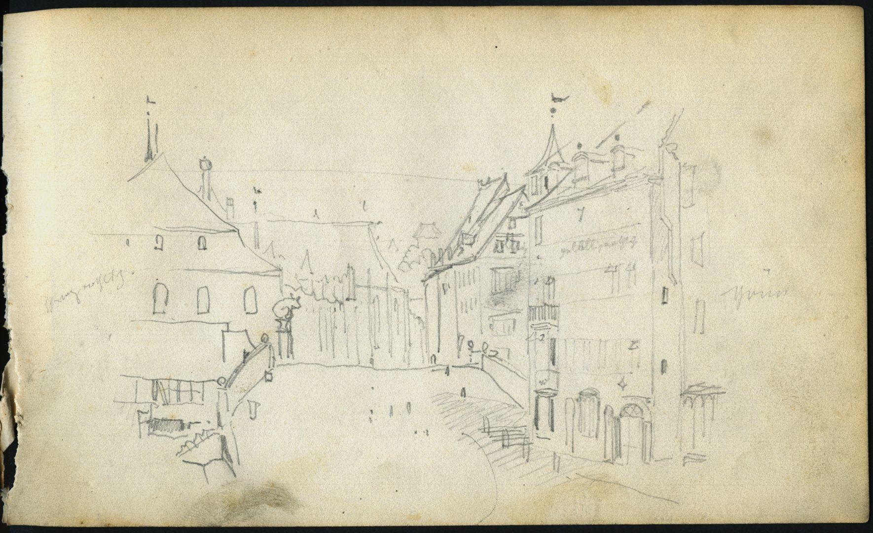 Skizzenbuch von Paul Ritter Blick über die Fleischbrücke in Richtung von Sankt Sebald