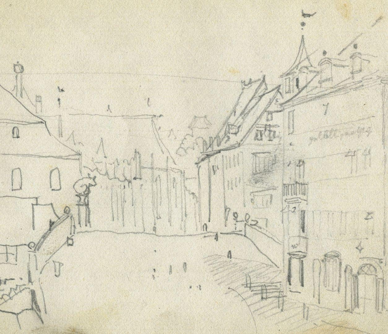 Skizzenbuch von Paul Ritter Blick über die Fleischbrücke in Richtung von Sankt Sebald, Detail