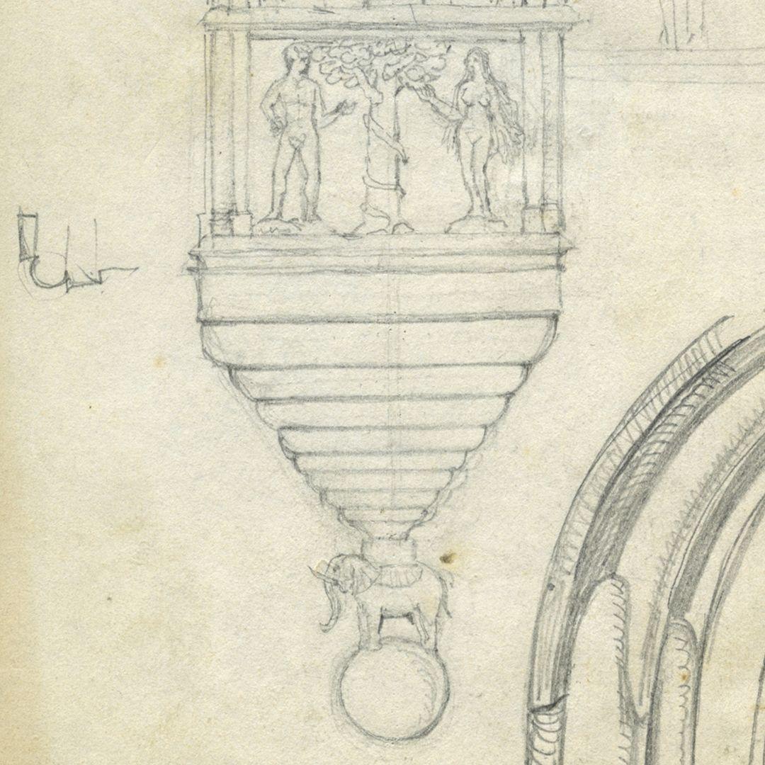 Skizzenbuch von Paul Ritter Chörlein vom Tucherschloß, Detail
