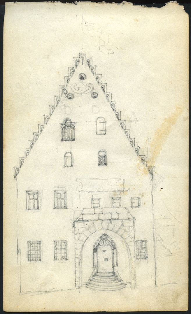 Skizzenbuch von Paul Ritter Südfassade des Unschlitthauses in Nürnberg