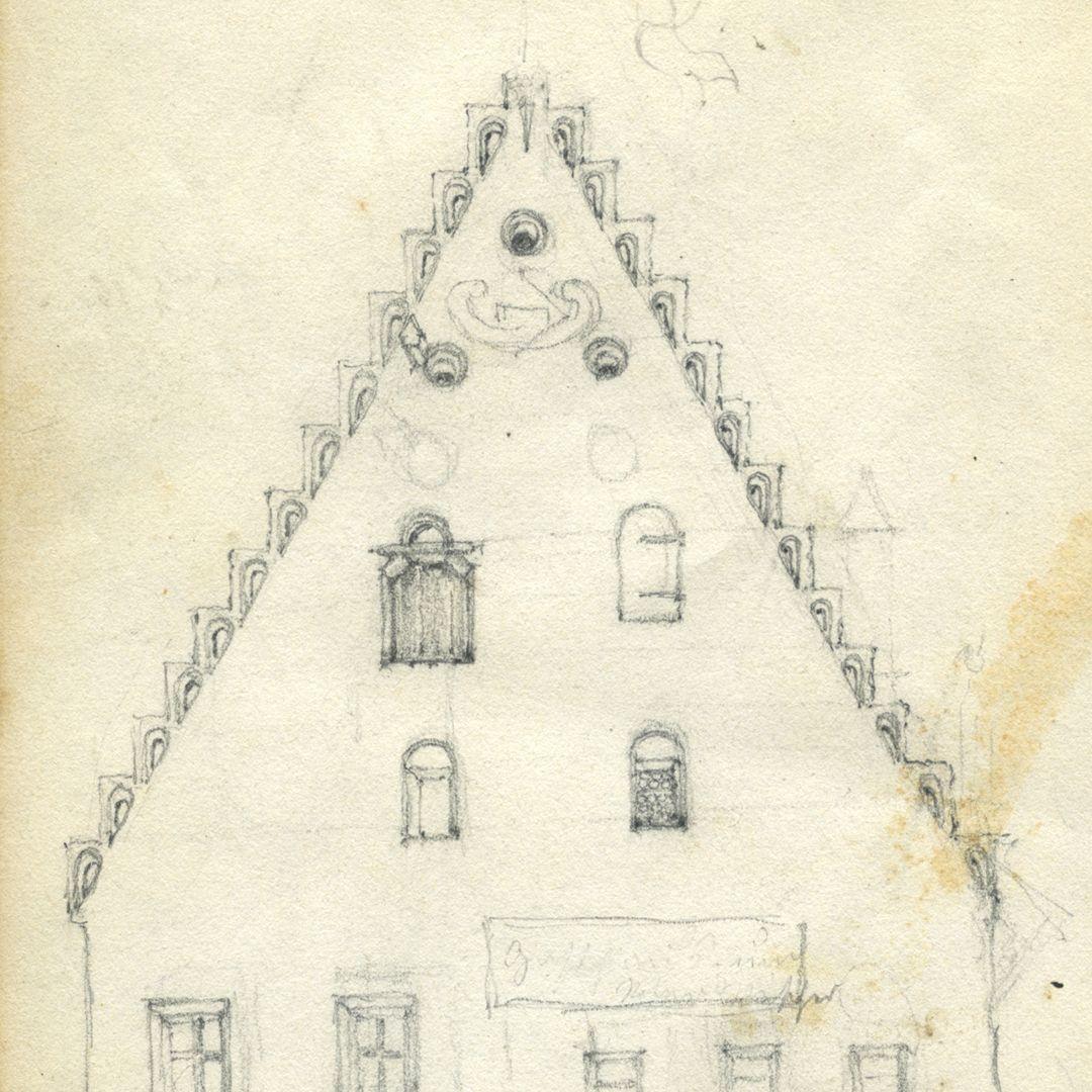 Skizzenbuch von Paul Ritter Südfassade des Unschlitthauses in Nürnberg, Detail