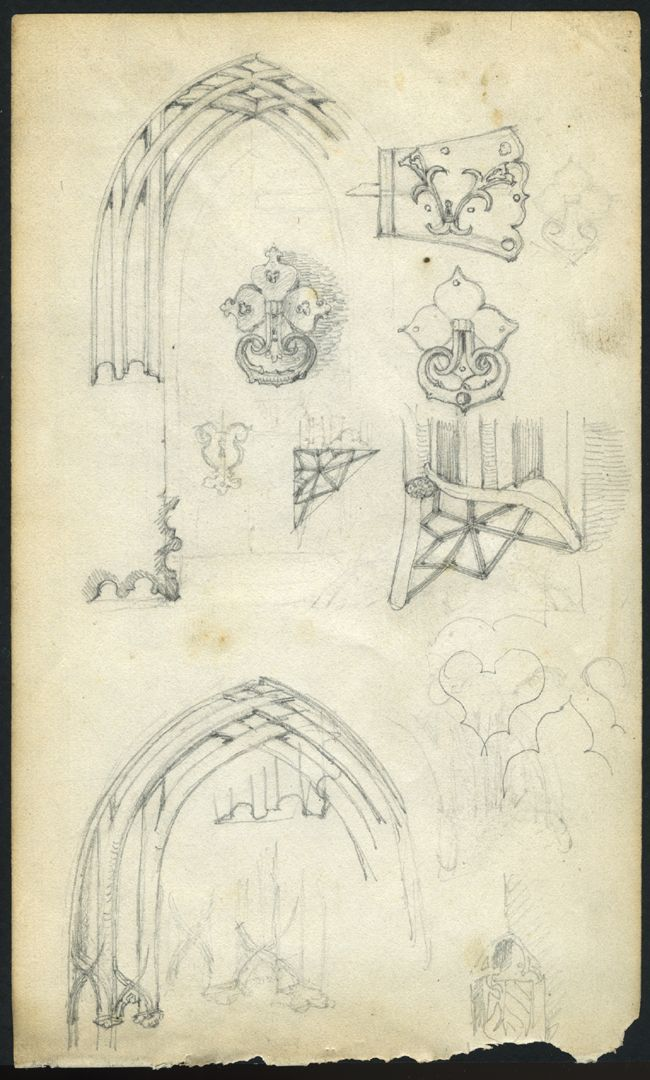 Skizzenbuch von Paul Ritter Nürnberg, Unschlitthaus, Portaldetails