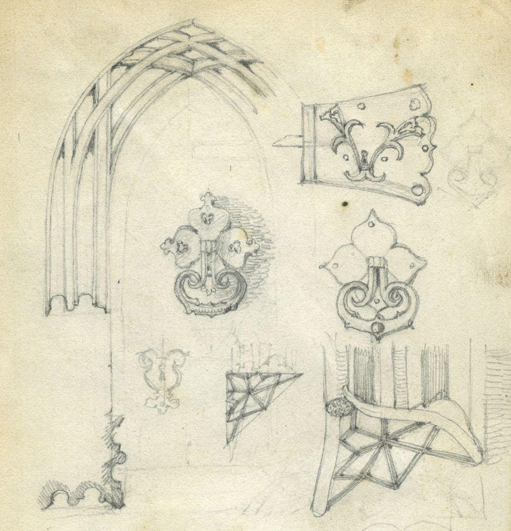 Skizzenbuch von Paul Ritter Nürnberg, Unschlitthaus, Portaldetails, obere Blatthälfte