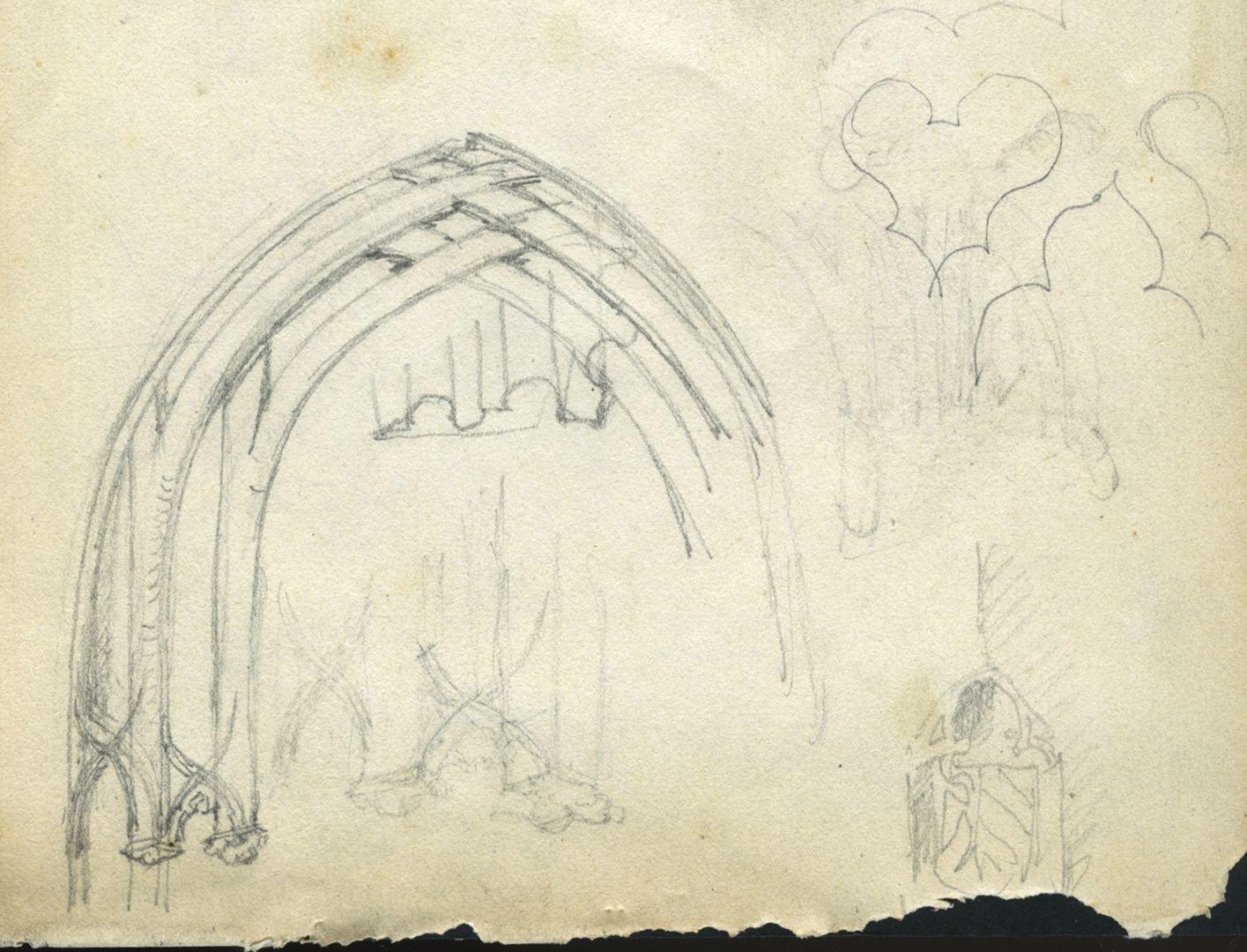 Skizzenbuch von Paul Ritter Nürnberg, Unschlitthaus, Portaldetails, untere Blatthälfte, unten rechts die SW-Ecke mit Stadtwappen und Astwerk