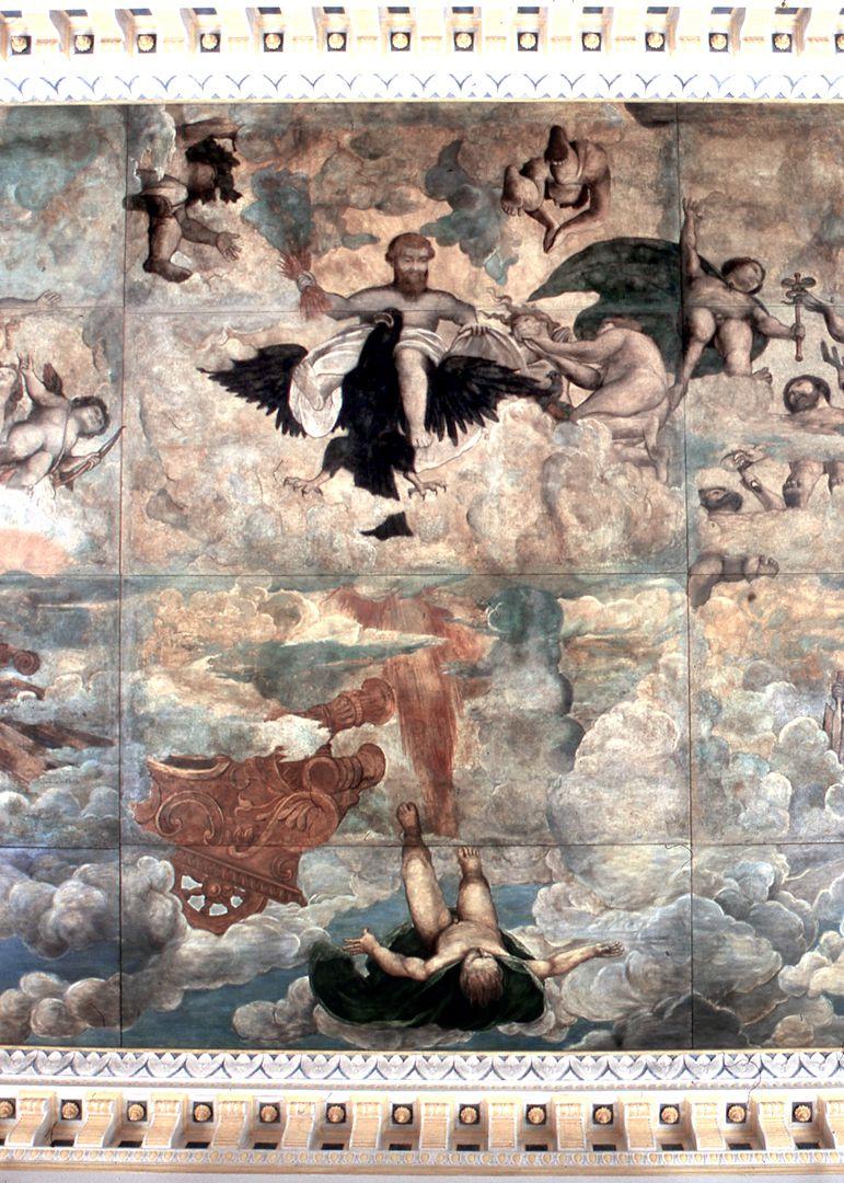 Hirsvogelsaal, gemalte Decke Detail: Zeus stürzt den Phaeton