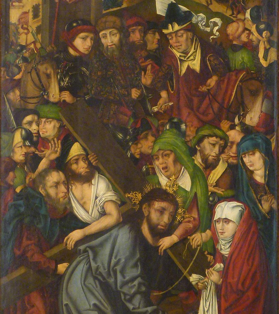 Peringsdörfer Altar Retabel im geöffneten Zustand, linker Flügel: Kreuztragung, Christus im Gemenge