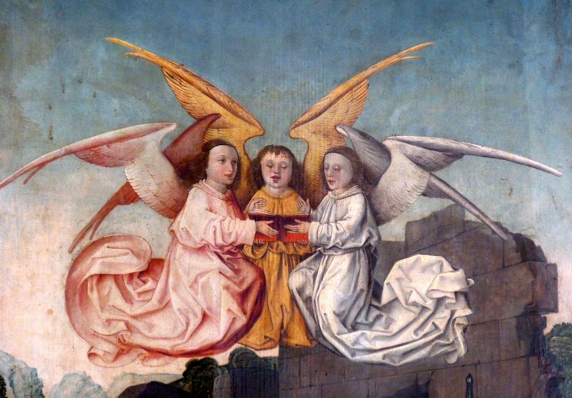 Peringsdörfer Altar Retabel im geschlossenen Zustand, Detail: Anbetung der Könige, Engelschor
