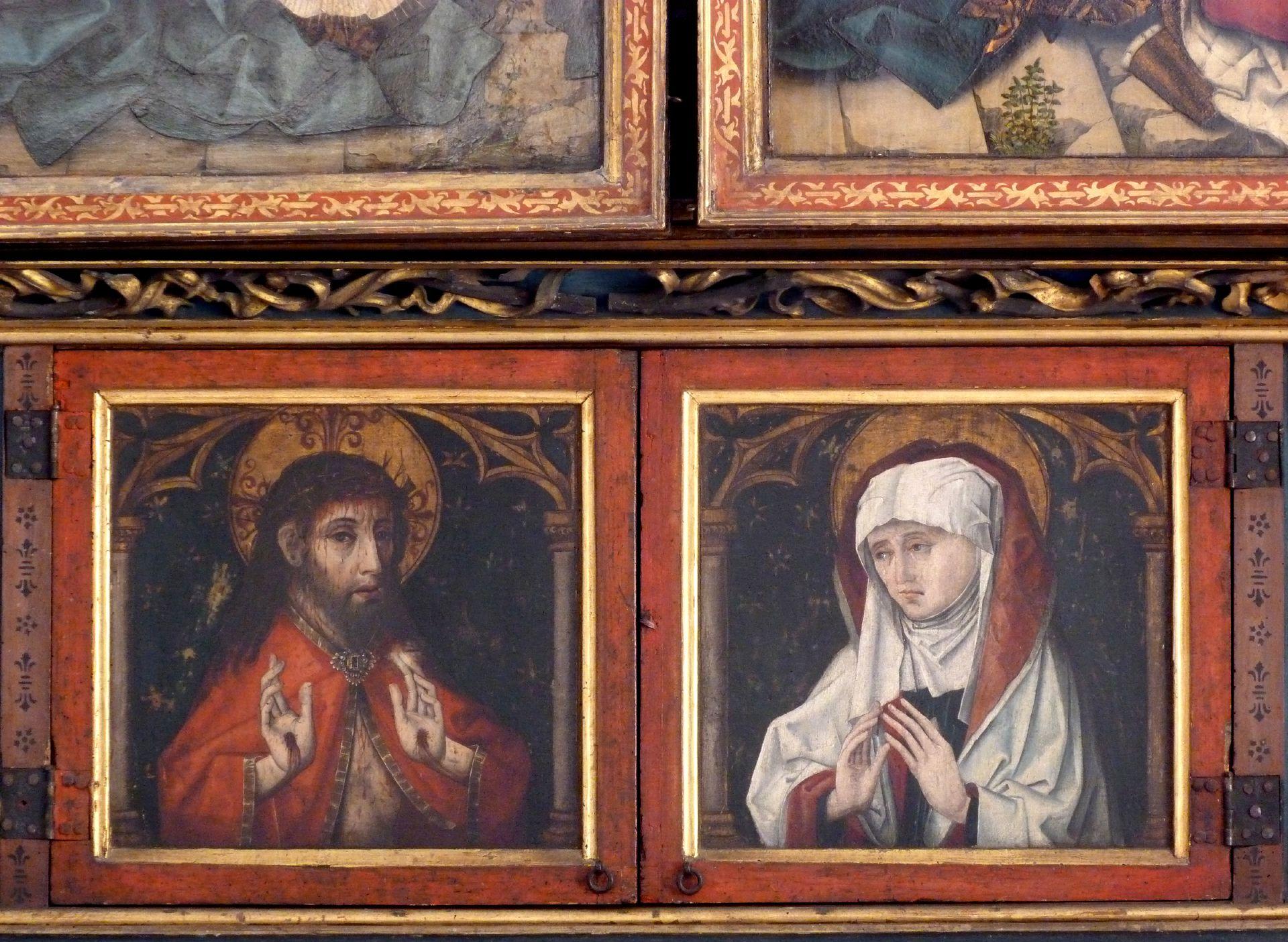 Peringsdörfer Altar Predella im geschlossenen Zustand, Christus und Maria
