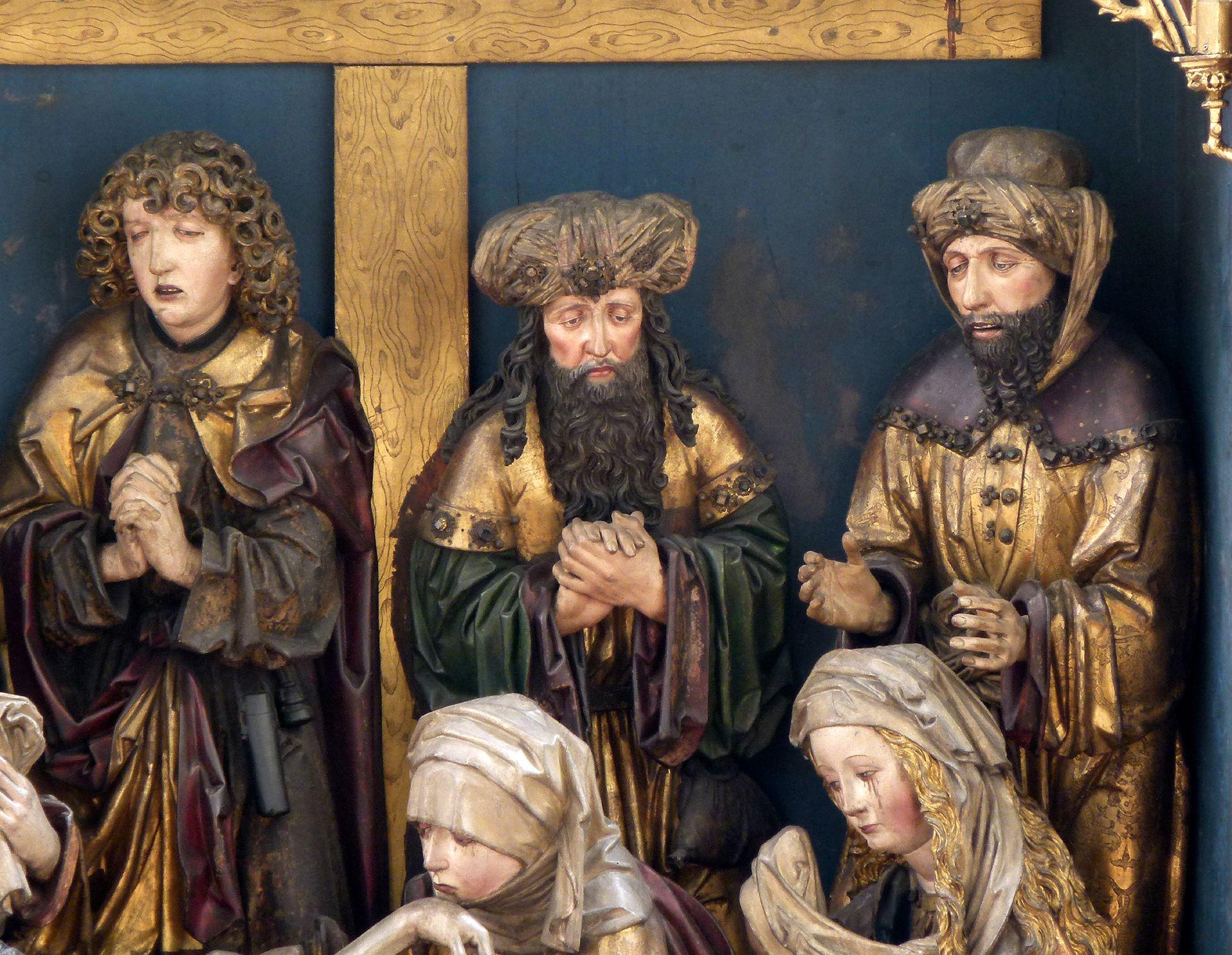 Peringsdörfer Altar Mittelschrein: Beweinung Christi mit den drei Männern, von l. nach r.: Johannes, Joseph von Arimathia und Nikodemus