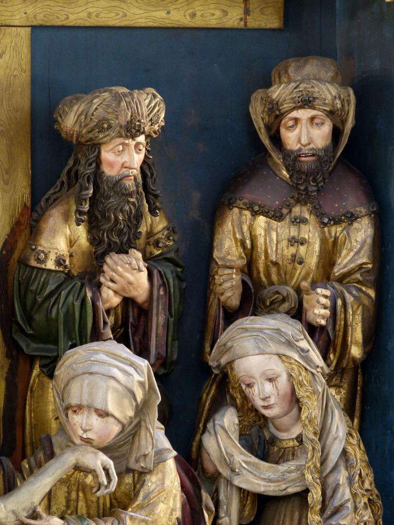 Peringsdörfer Altar Mittelschrein: Beweinung Christi, Detail mit zwei Männern und zwei Frauen