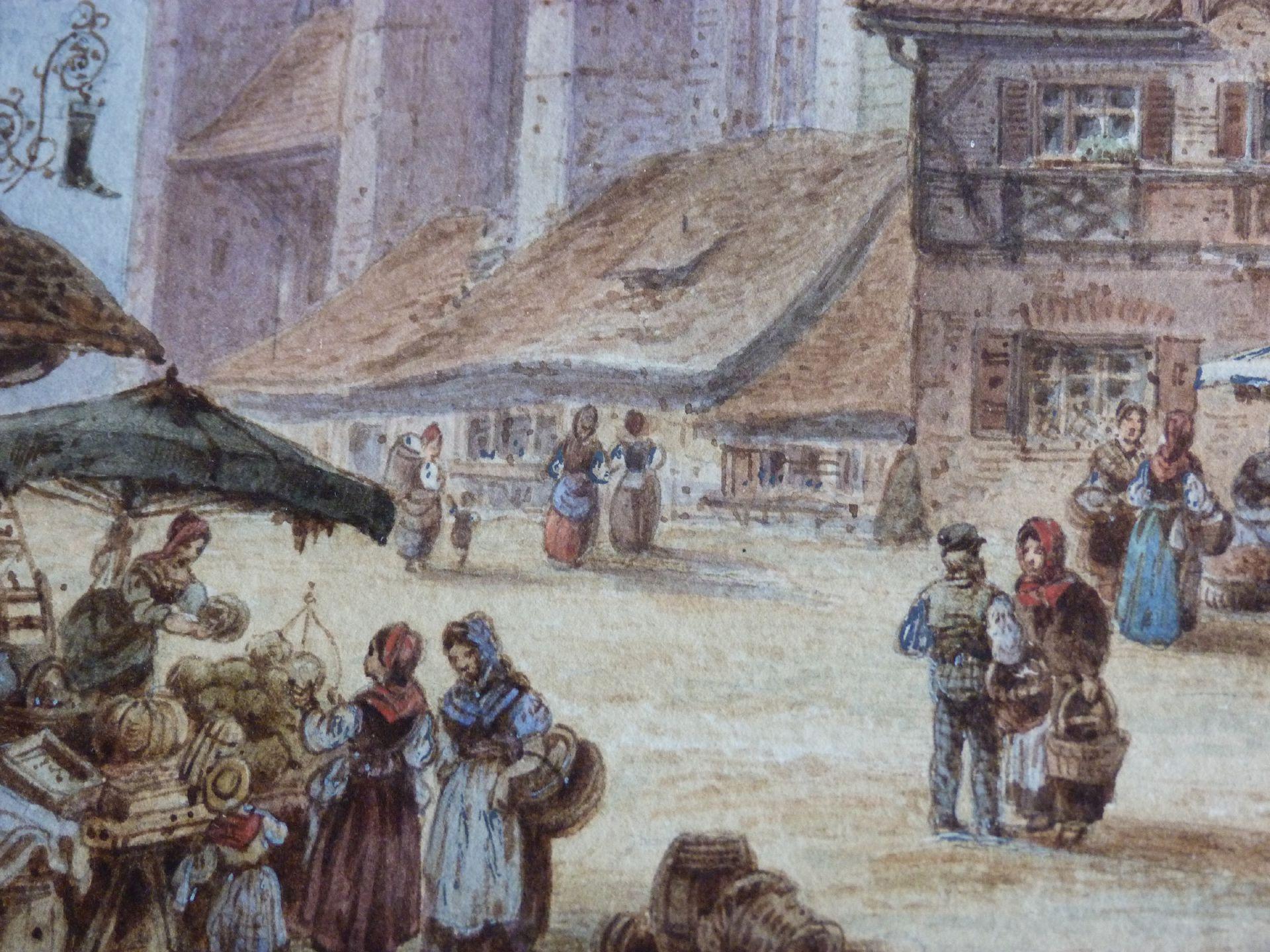 Frauenkirche mit Obstmarkt Obstmarkt mit Markttreiben