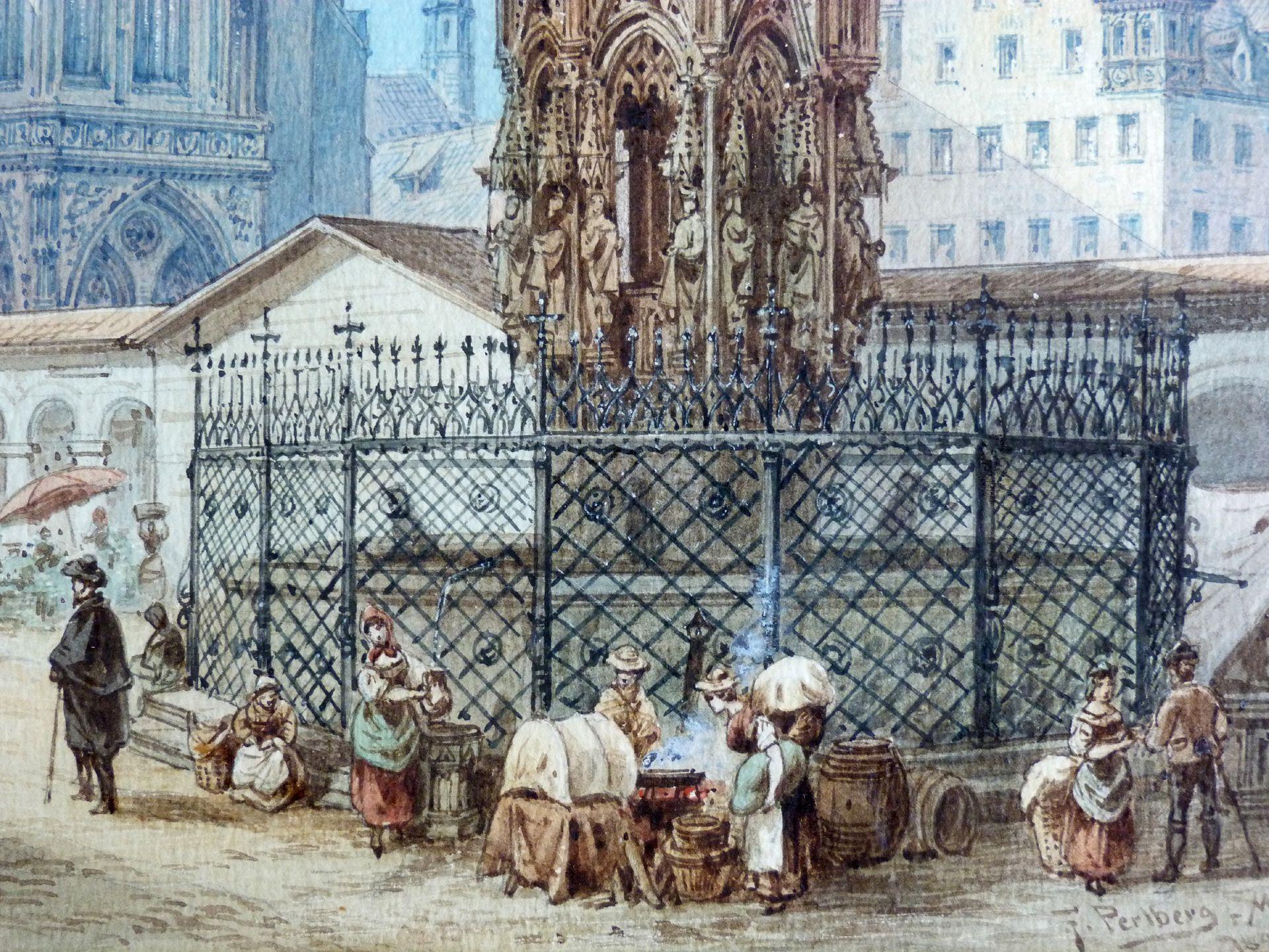 Der Schöne Brunnen in Nürnberg Brunnenbecken mit Markttreiben