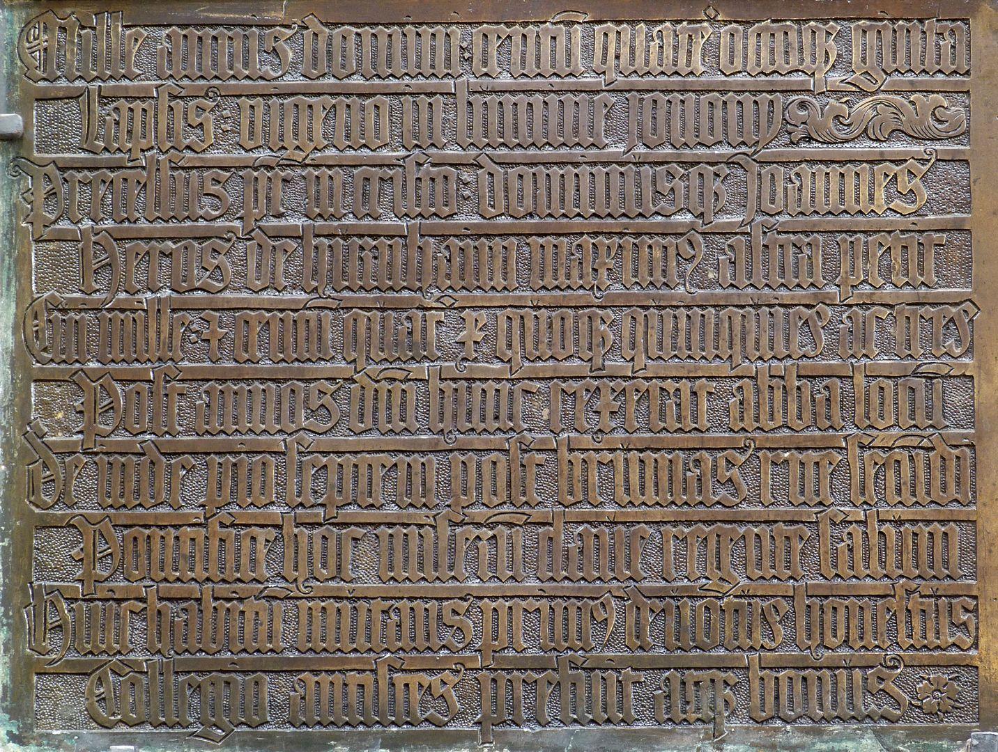 Johannes von Hürnheim und Albrecht von Rechenberg linke Hälfte der Schrifttafel