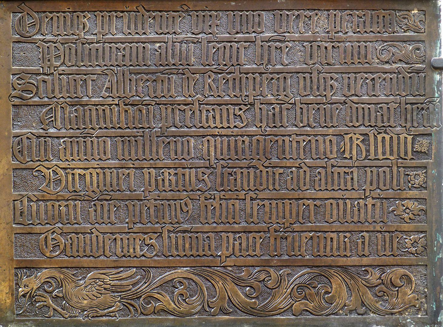 Johannes von Hürnheim und Albrecht von Rechenberg rechte Hälfte der Schrifttafel