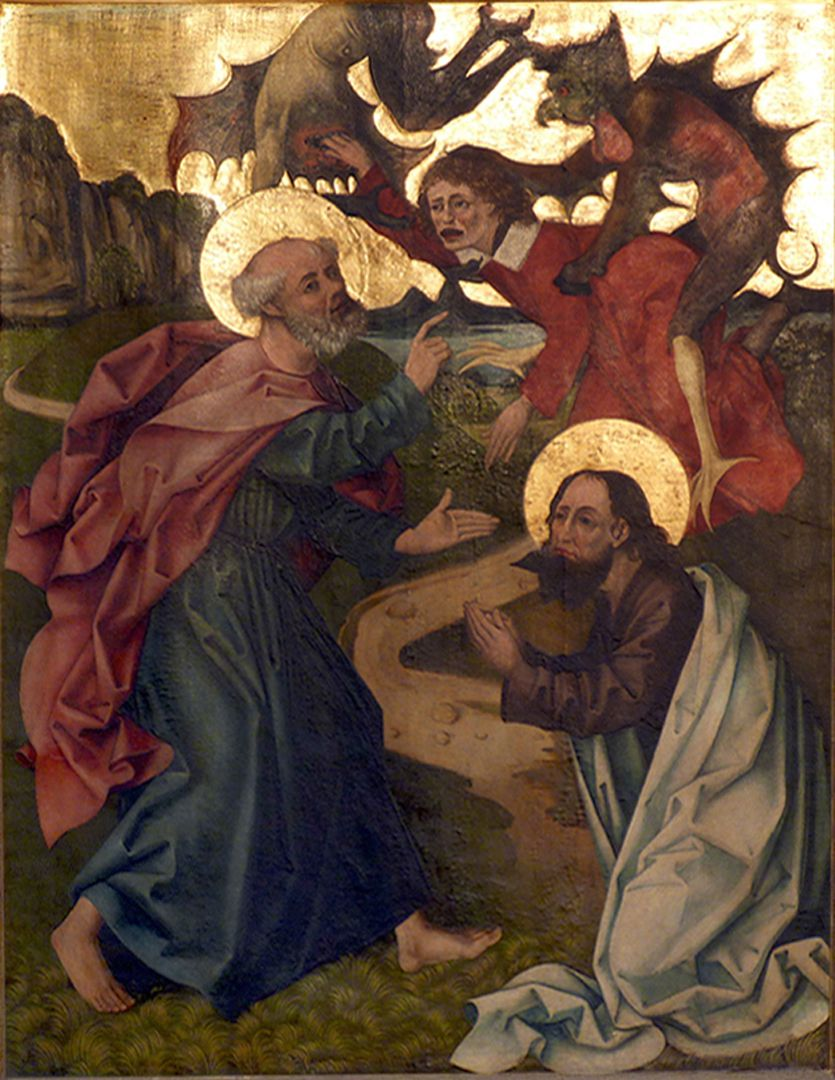 Petersaltar rechter Flügel unten, Petrus und Paulus überwinden den Magier Simon