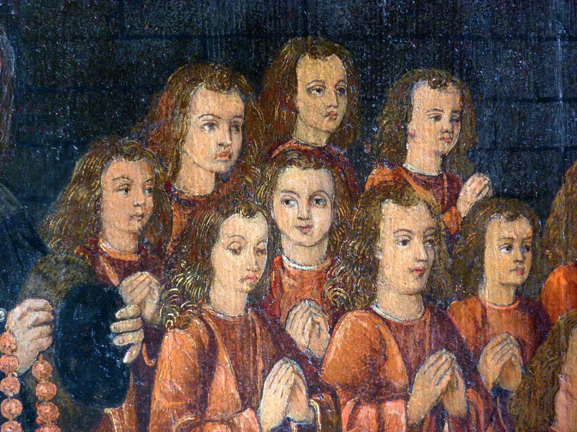 Petersaltar Antependium vor dem Stipes, Detailansicht mit den Söhnen des Nikolaus Topler zur Rechten Petri, Detail