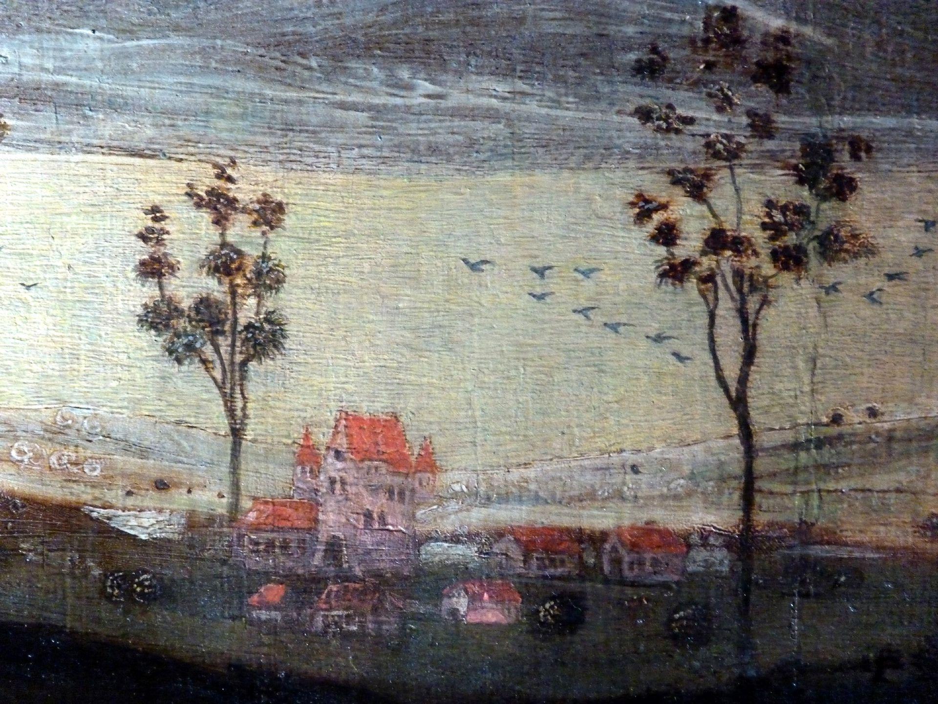 Petersaltar Antependium vor dem Stipes, Detailansicht vom Hintergrund mit einem Nürnberger (Toplersches?) Weiherhauses