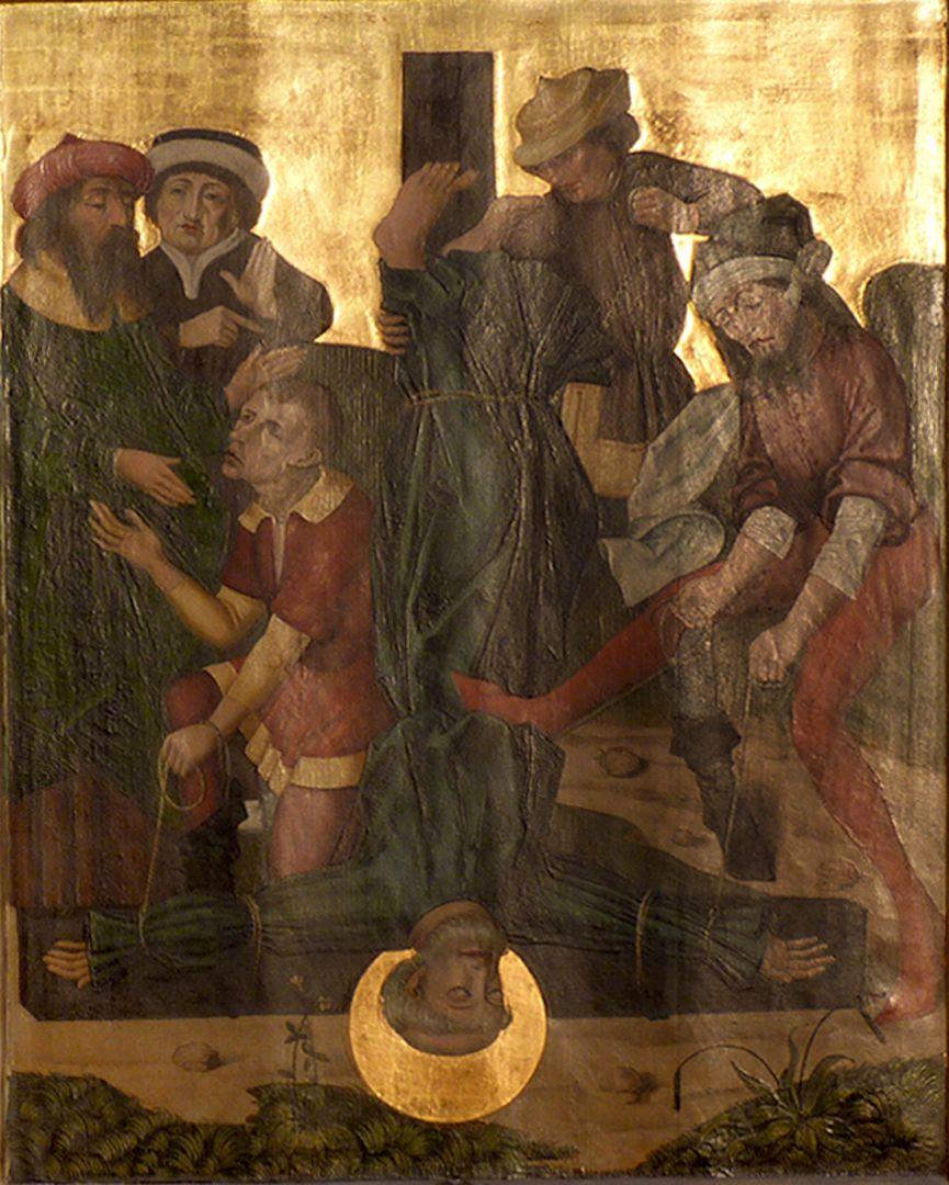 Petersaltar Schrein, linker Flügel unten, Kreuzigung Petri