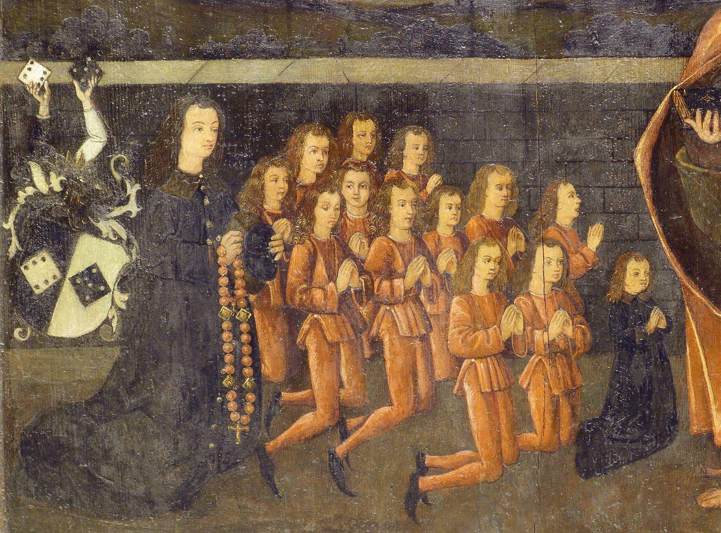 Petersaltar Antependium vor dem Stipes, Detailansicht mit den Söhnen des Nikolaus Topler zur Rechten Petri