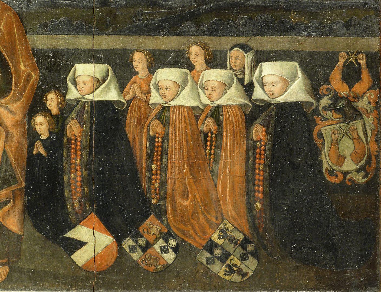 Petersaltar Antependium vor dem Stipes, Frauenseite zu Linken Petri. Nikolaus Topler war in erster Ehe mit Martha, geborene Truhenschmidt (begraben 3.5.1467) und in zweiter mit Clara, geborene Haller verheiratet.