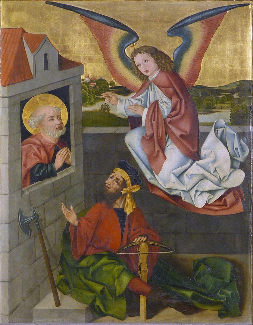 Petersaltar Schrein, linker Flügel oben, Tröstung Petri im Kerker durch einen Engel