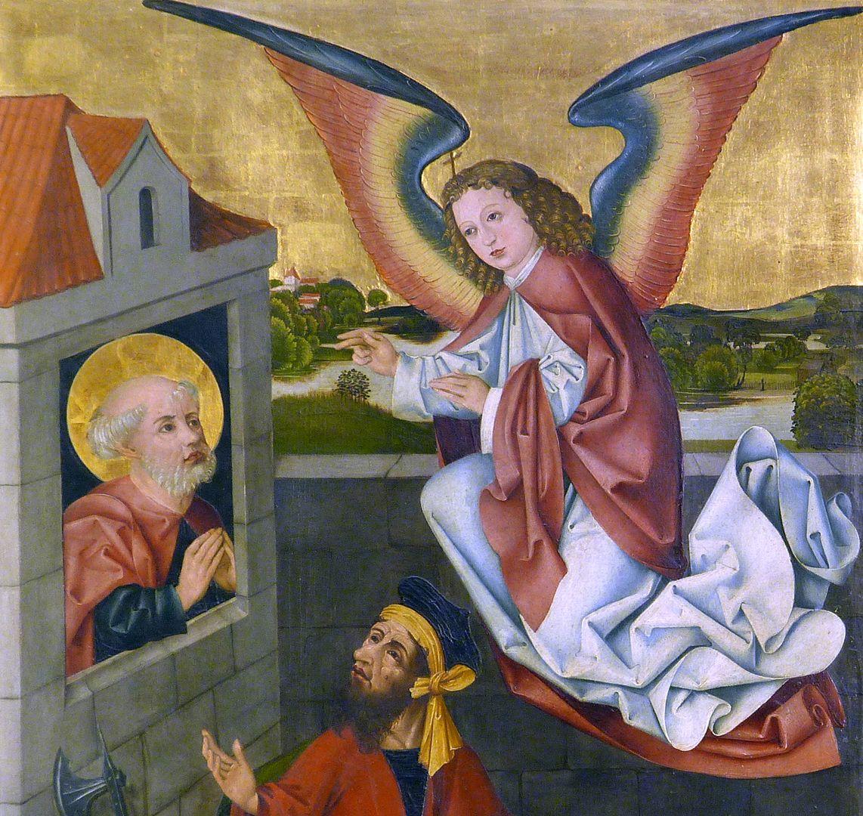 Petersaltar Schrein, linker Flügel oben, Tröstung Petri im Kerker durch einen Engel, Detail