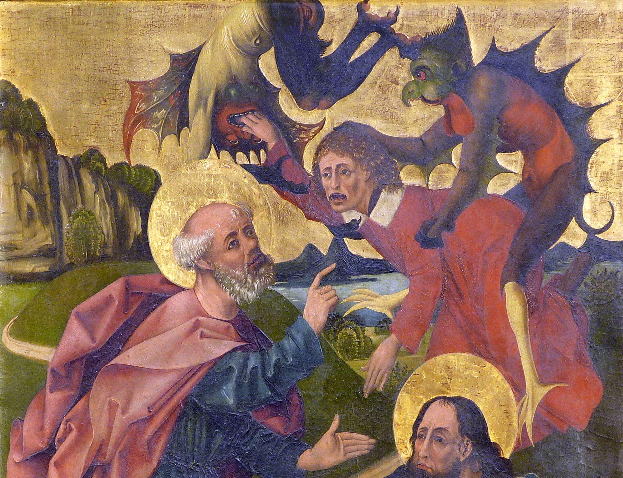 Petersaltar rechter Flügel unten, Petrus und Paulus überwinden den Magier Simon, obere Bildhälfte