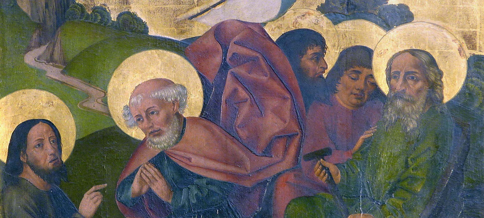 Petersaltar Schrein, rechter Flügel oben, Berufung Petri, Detailansicht mit Köpfen