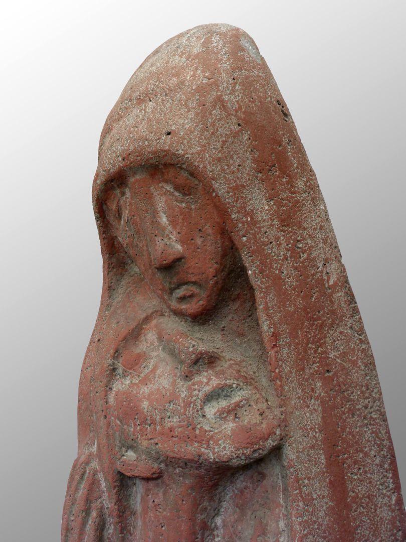 Pietà Köpfe von Maria und Jesus, rechte seitliche Ansicht