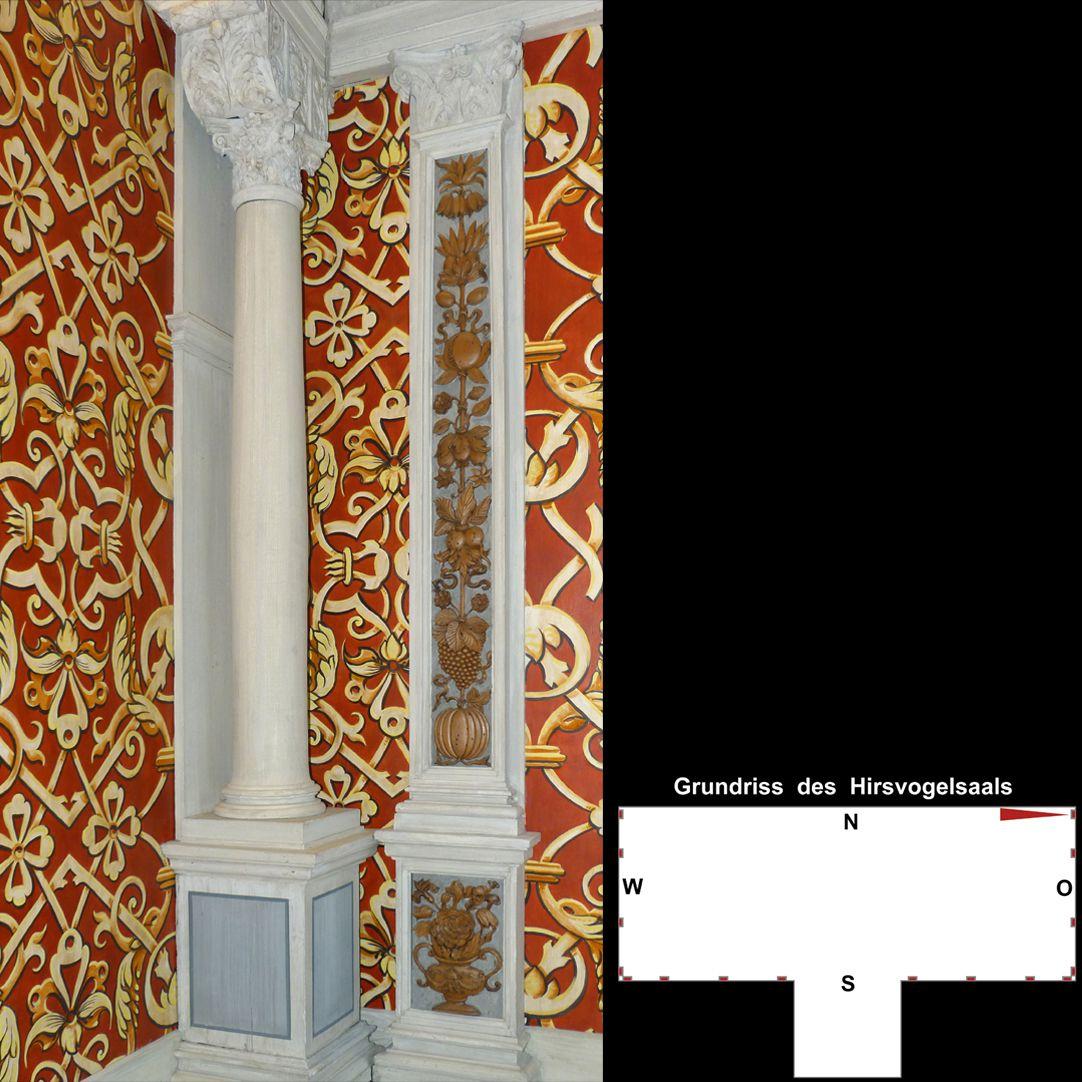 Pilasterabfolge im Hirsvogelsaal Nordöstliche Ecke mit Holzpfeiler und Pilaster