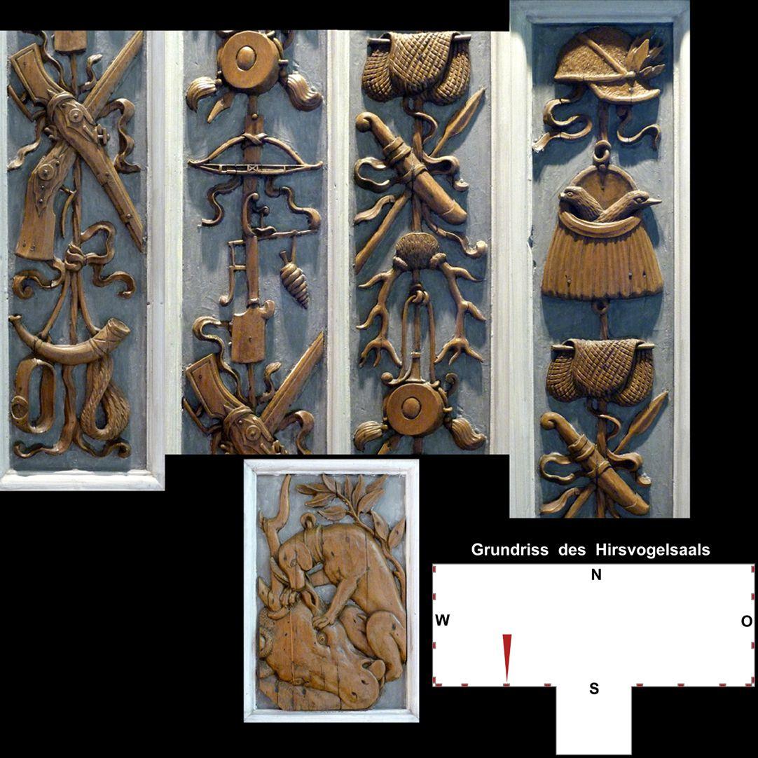 Pilasterabfolge im Hirsvogelsaal oben: Pilastersegmente mit Jagdmotiven; unten: Postament mit Jagdhund und erlegtem Hirsch