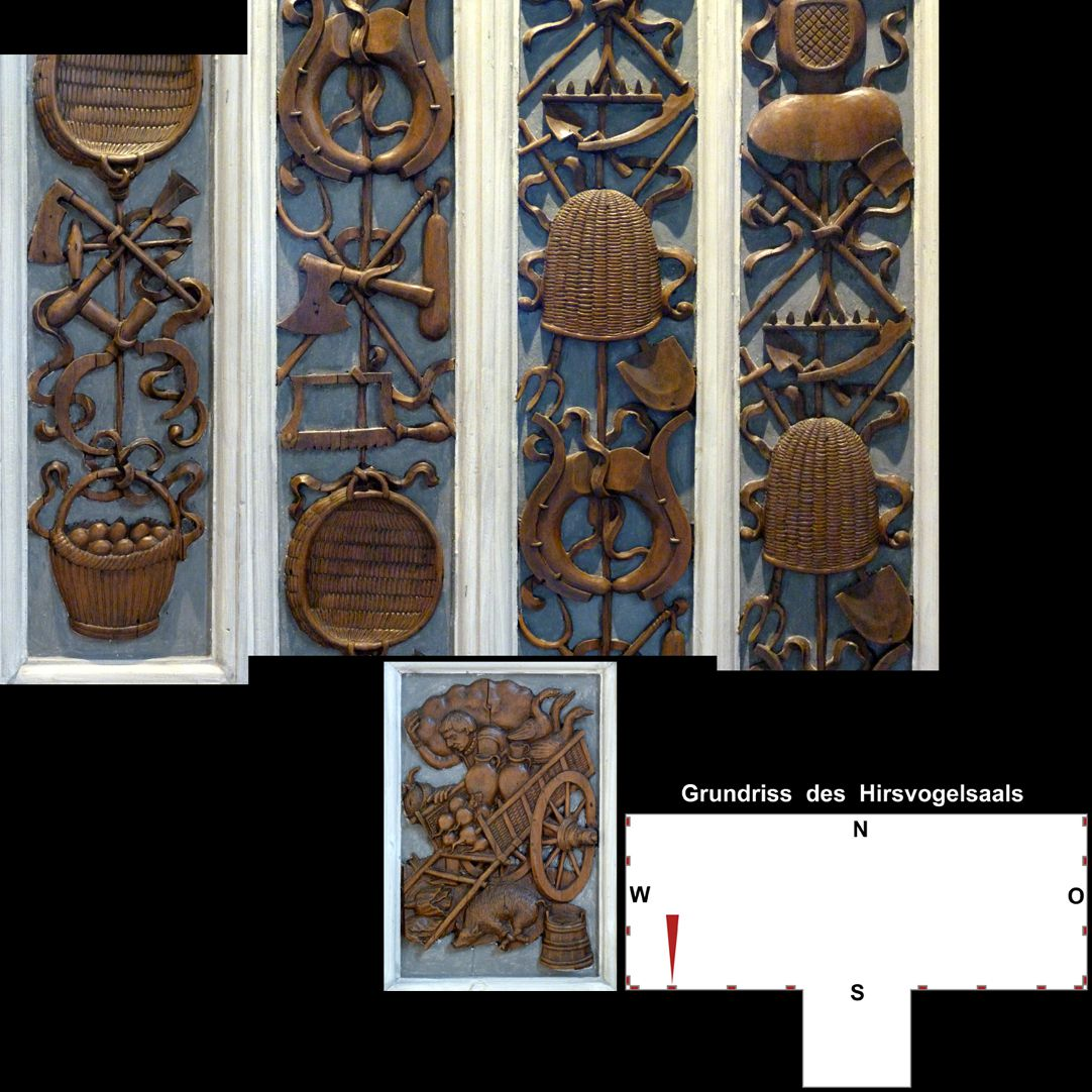 Pilasterabfolge im Hirsvogelsaal oben: Pilastersegmente mit Geräten aus der Gärtnerei und Imkerei; unten: Postament mit Karren