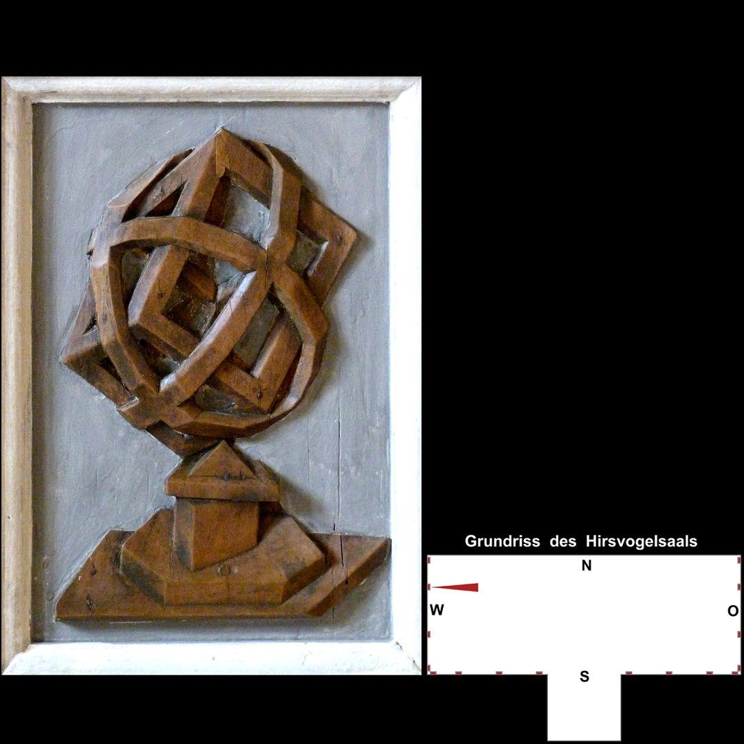 Pilasterabfolge im Hirsvogelsaal Postament mit stereometrischem Gebilde nach der Art des Johannes Lencker d.Ä.