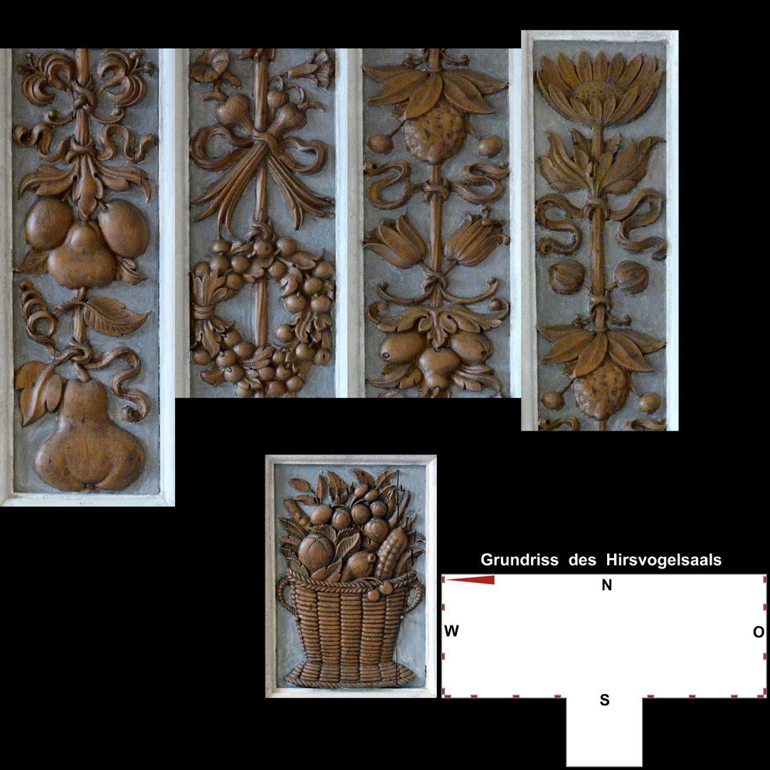 Pilasterabfolge im Hirsvogelsaal oben: Pilastersegmente mit Früchten; unten: Postament mit Früchtekorb