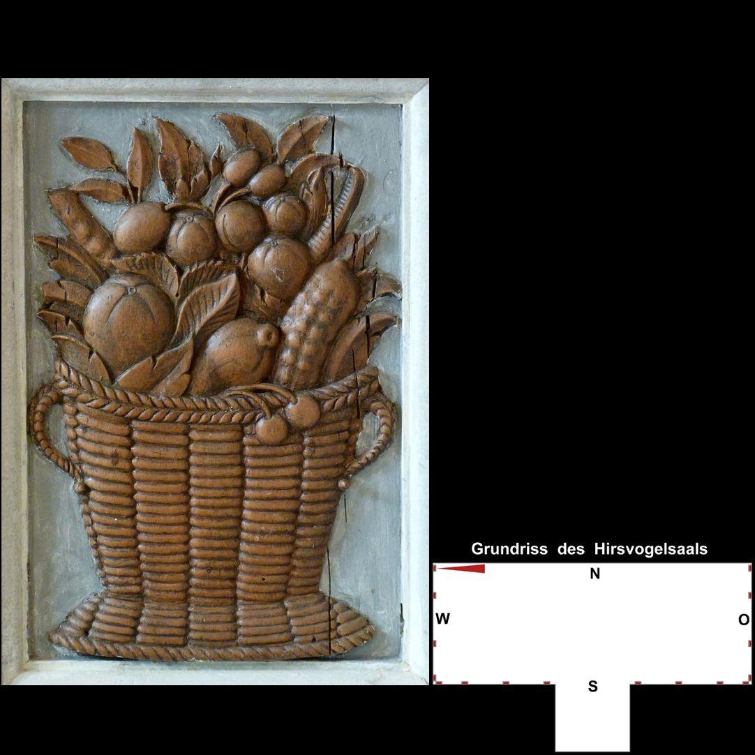 Pilasterabfolge im Hirsvogelsaal Postament mit Früchtekorb