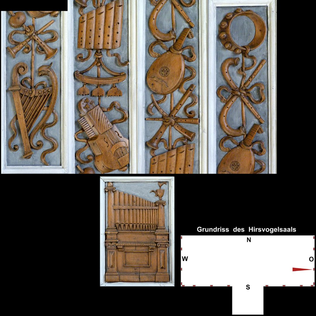 Pilasterabfolge im Hirsvogelsaal oben:  Pilastersegment mit einer stilisierten gotischen Harfe, Blasinstrumenten , Drehleier, Glockenspiel, Panflöte, Zinken und Schalmei, Laute und Tamburin; unten: Postament mit Orgelpositiv