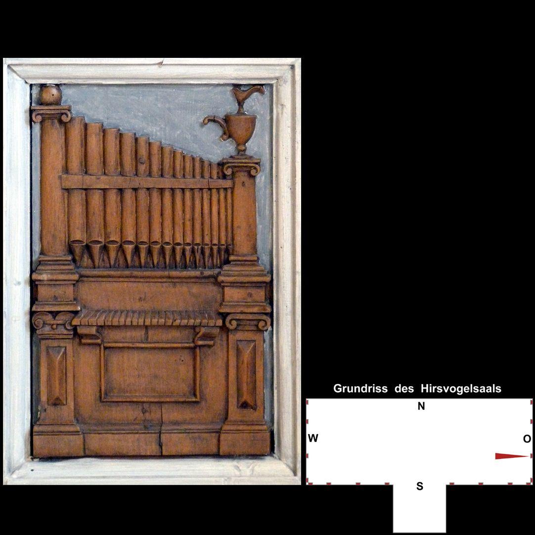 Pilasterabfolge im Hirsvogelsaal Postament mit Orgelpositiv
