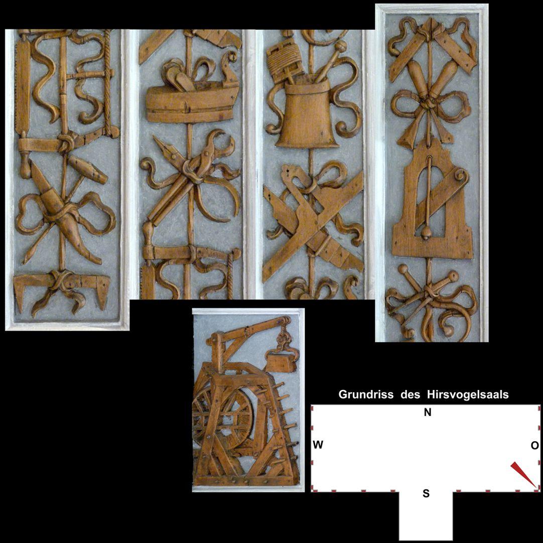 Pilasterabfolge im Hirsvogelsaal oben: Pilastersegmente mit Werkzeugen; unten: Postament mit Baukran